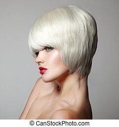 haircut., court, hairstyle., beauté, f, mode, portrait., hair., blanc