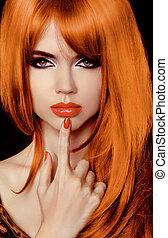 haircut., fringe., hair., modèle, woman., élégant, hairstyle., sain, long, secret., beau