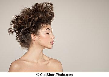 hairstyle., portrait., jeune, créatif, femme
