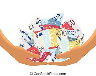 haler, blanc, espèces, (vector), euro