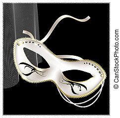 half-, blanc, masque, carnaval