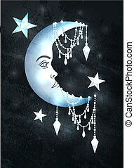 halfmoon, étoiles, visage humain