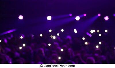 hall., applaudissement, concert, foule