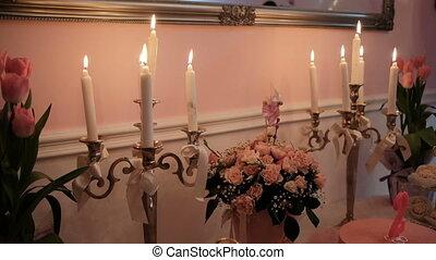 hall., brûlé, bougies, bouquets, table, fleurs, banquet