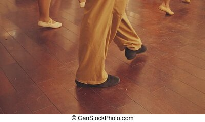 hall., danse, gens, jambes, danse