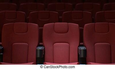 hall., rangées, art, cinéma, chaises, média, concept., dof, seamless, ultra, blur., fait boucle, rouges, sièges, hd, 4k, animation, 3840x2160., 3d