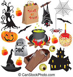 halloween, éléments, art, agrafe, fête