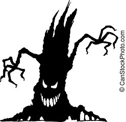 halloween, arbre, effrayant, silhouette