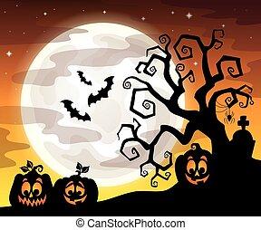 halloween, arbre, silhouette