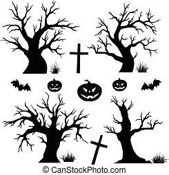 halloween, arbres, chauves-souris, araignées
