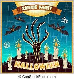 halloween, -, bras, mort, zombi, vecteur, illustration, invitation, fête, man's, terrestre