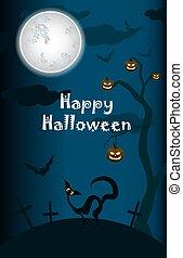 halloween, chat, arrière-plan noir, lune