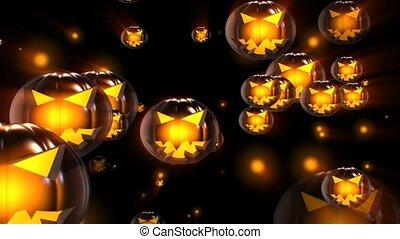 halloween, citrouille, concept, têtes, noir