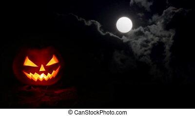 halloween, citrouille, nuit, nuages, lune