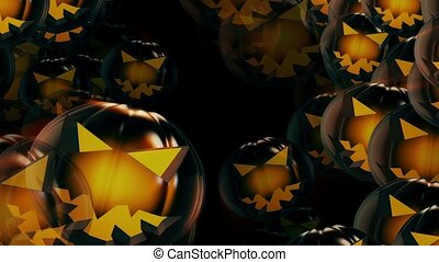 halloween, citrouille, têtes, fond, noir