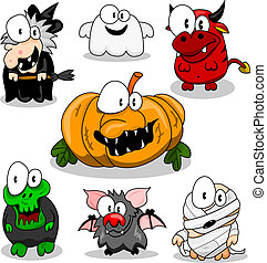 halloween, collection, créatures