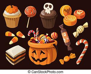 halloween, coloré, ensemble, bonbons