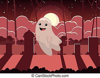 halloween, fantôme, scène, cimetière, lune