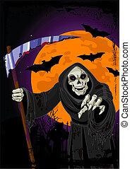 halloween, fond, moissonneur menaçant
