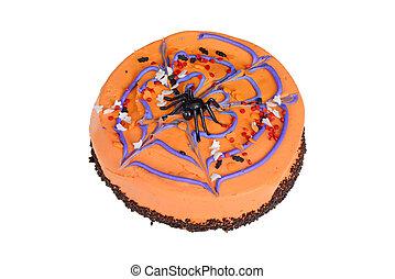halloween, gâteau, décoré, sommet orange, vue