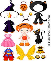 halloween, girl, papa, robes