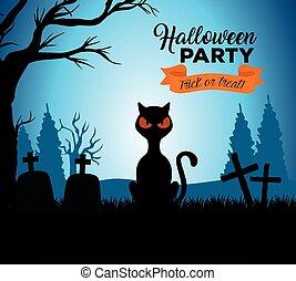 halloween, heureux, chat, cimetière, noir, bannière
