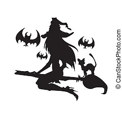halloween, illustration, une, elements., sorcière, color.