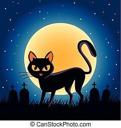halloween, lune, scène, nuit, chat, cimetière, noir, entiers