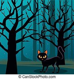 halloween, lune, scène, nuit, chat, forêt, noir, entiers