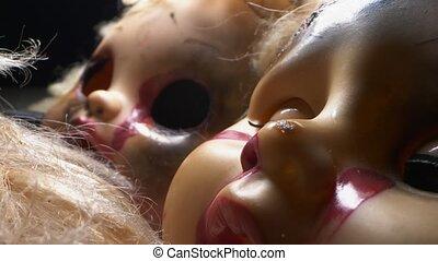 halloween, mutilated, dolls., extrêmement, cassé, concept, gros plan, detailed.