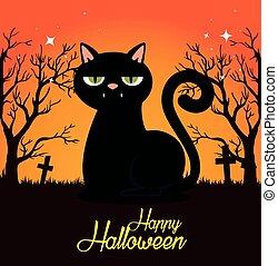 halloween, noir, cimetière, carte, chat