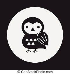 halloween, oiseau, icône
