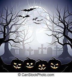 halloween, potirons, forêt, cimetière, brumeux