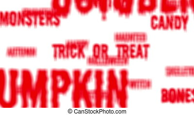 halloween, rouges, mots, boucle