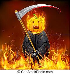 halloween, sinistre, brûlé
