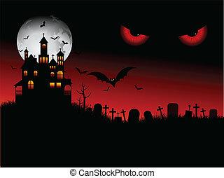 halloween, spooky, scène