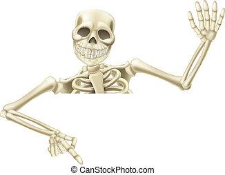 halloween, squelette, pointage