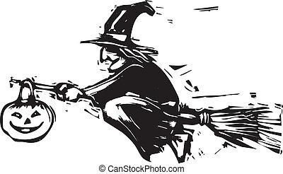 halloween, voler, sorcière