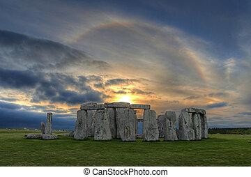 halo, coucher soleil, solaire, sur, stonehenge