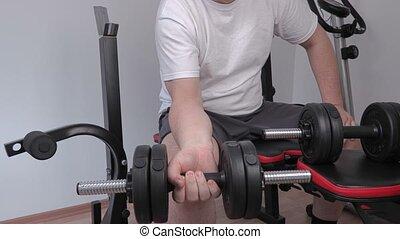 haltère, bras, exercice, homme