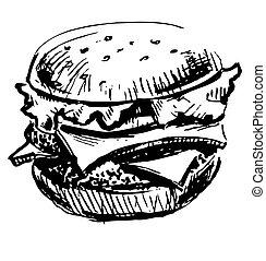 hamburger, juteux, délicieux