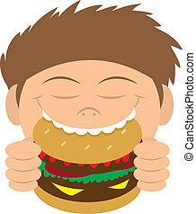 hamburger, manger, gosse