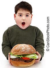 hamburger, obèse, géant, affamé, garçon