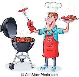 hamburgers, chiens, chaud, bbqing, type