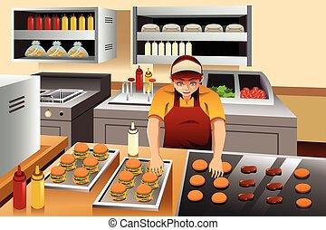 hamburgers, homme, cuisine
