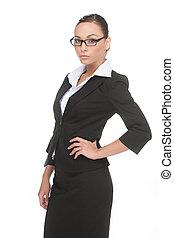 hanche, elle, jeune, isolé, main, regarder, confiant, quoique, appareil photo, businessman., tenue, homme affaires, blanc, lunettes