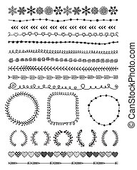 hand-drawn, éléments, conception, seamless, frontières