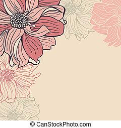 hand-drawn, fleurs, carte voeux