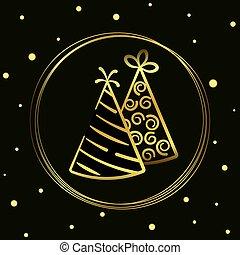 hand-drawn., or, illustration, fond, icône, vacances, casquettes, cercle, isolé, impression, conception, noir, ligne, vecteur
