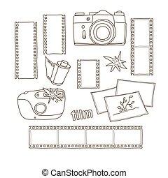 hand-drawn, série film, photographe, éléments